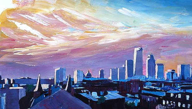 Boston Massachusetts Skyline at Sunrise by M Bleichner