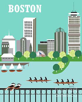 Boston Massachusetts Vertical Skyline by Karen Young
