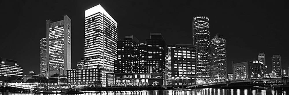 Boston Seaport Night Time Panorama Boston MA Black and White by Toby McGuire