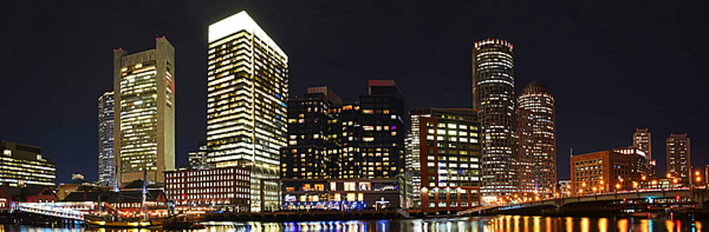 Boston Seaport Night Time Panorama Boston MA by Toby McGuire