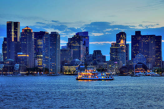 Boston Skyline at Night - Boston Harbor by Joann Vitali
