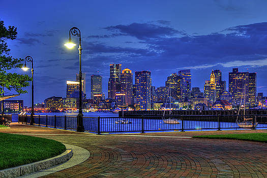 Boston Skyline at Night - Piers Park by Joann Vitali