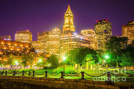 Boston Skyline at Night with Christopher Columbus Park by Paul Velgos