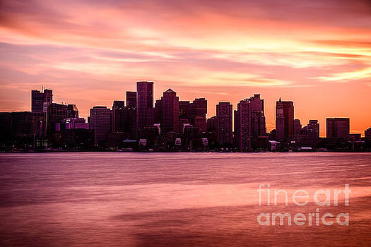 Boston Skyline Picture with Colorful Sunset by Paul Velgos