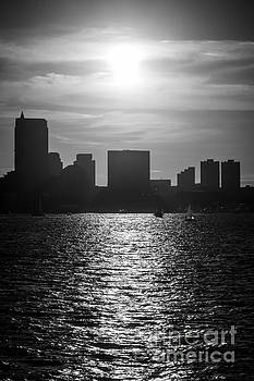 Boston Skyline Sunset Black and White Picture by Paul Velgos