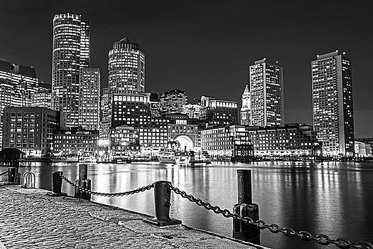 Boston Waterfront Boston Skyline Boston MA Harbor Towers Black and White by Toby McGuire