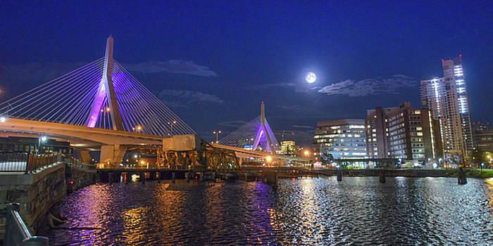 Boston's Zakim Bridge alit in purple to honor Prince by Matthew MacPherson
