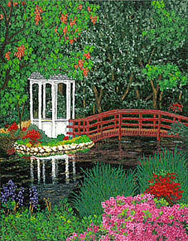 Baslee Troutman - Botanical Garden Park Walk Pink Azaleas Bridge Gazebo Flowering Trees Pond