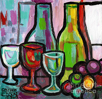 Bottled Wine Abstract For Two by Genevieve Esson