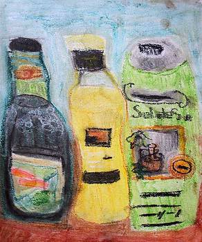 Bottles of Olive Oil by Annie Dameron