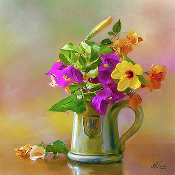 Bougainvilleas in a green jar. by Juan Carlos Ferro Duque