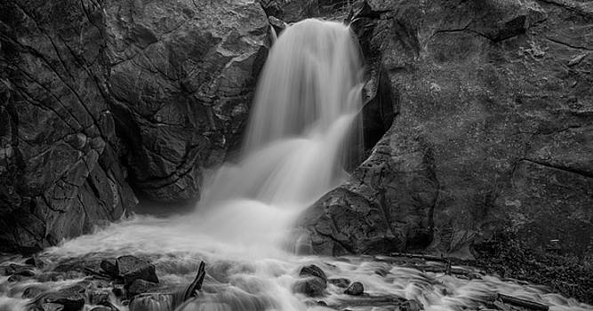 Boulder Falls In Black And White by Michael Putthoff