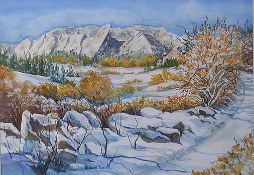 Boulder Flatirons in Winter by Richard Powell