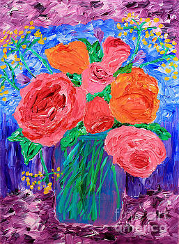 Beverly Claire Kaiya - Bouquet of English Roses in Mason Jar Painting