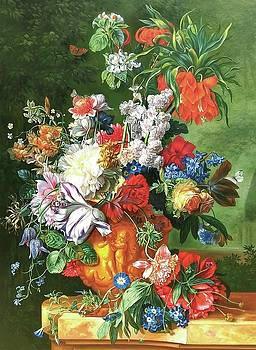 Bouquet of Flowers in an Urn by Jan van Huysum,Painted in 1724 by William Roberts