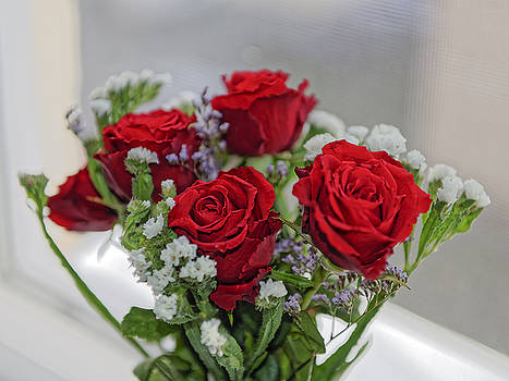Bouquet of red roses with white carnations by Adrian Bud
