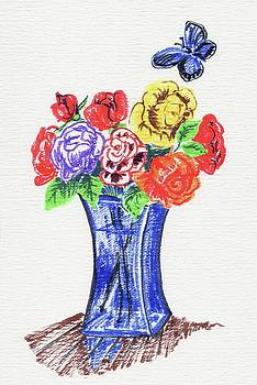 Bouquet of Roses in a Blue Vase by Masha Batkova
