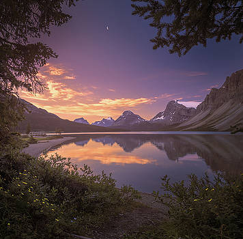 Bow Lake at dawn by William Lee