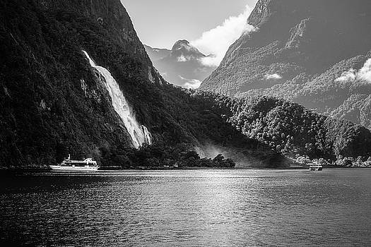 Bowen Falls at Milford Sound in black and white by Daniela Constantinescu