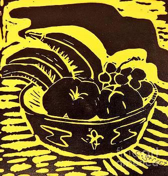 Caroline Street - Bowl of Fruit Black on Yellow