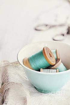 Bowl of Vintage Spools of Thread by Stephanie Frey