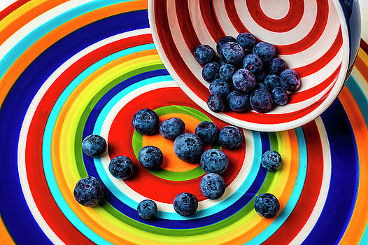 Bowl Spilling Blueberries by Garry Gay
