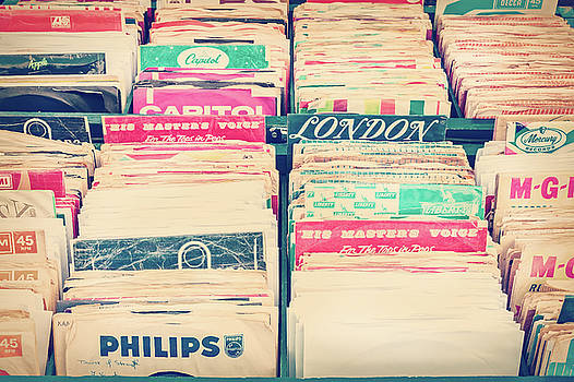 Boxes with vinyl turntable records on a fl by Martin Bergsma