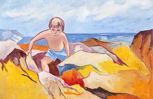 Betty Pieper - Boy Climbing Rocks at Seashore