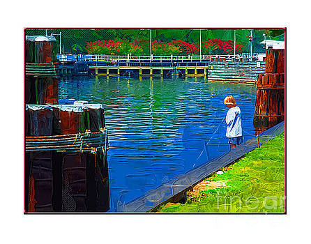 Boy Fishing by Margie Middleton