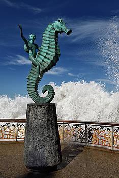 Reimar Gaertner - Boy on a Seahorse on Puerto Vallarta Malecon with splash of ocea