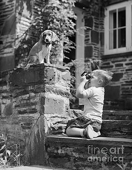 Debrocke ClassicStock - Boy Photographing Dog, C.1950s