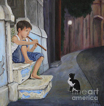 Boy playing flute for cat  by Sid Ball
