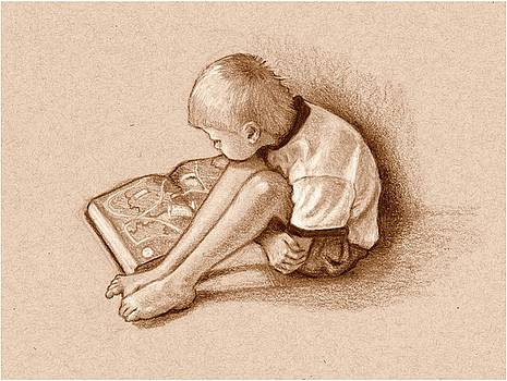 Joyce Geleynse - Boy Reading Book Sepia Drawing