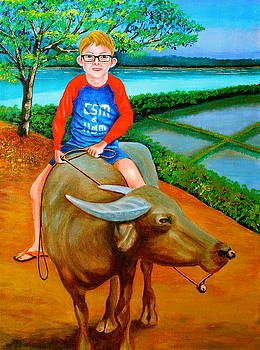 Boy Riding a Carabao by Cyril Maza