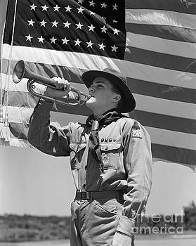 H Armstrong Roberts ClassicStock - Boy Scout And American Flag, C.1940s