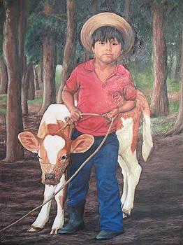 Boy with calf by Judith Zur