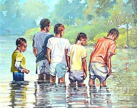 Boys Fishing by Jeffrey Samuels
