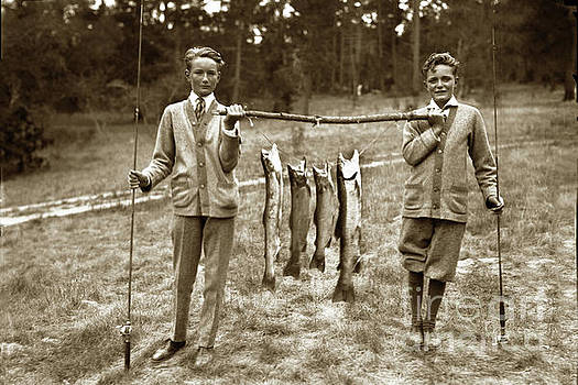 Boys with a line Carmel River Steelhead cought in the Carmel Riv by California Views Mr Pat Hathaway Archives