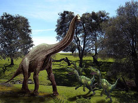 Frank Wilson - Brachiosaurus Attacked by Velociraptors