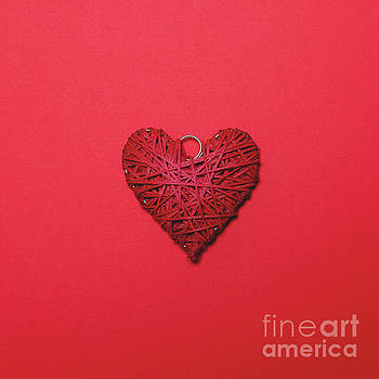 Branch made heart on red background - Minimal design by Aleksandar Mijatovic