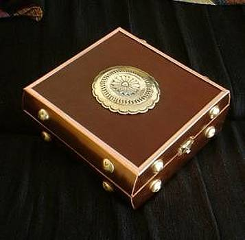Brass Copper And Leather Treasure Box by Eddie Romero