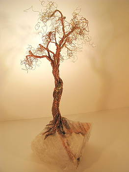 Brass-Copper Tree on Crystal by Judy Byington