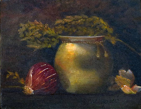 Brass Pot with Onion by Rosemary Buettgenbach