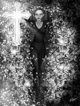 Breaking Through Darkness - Black and White Fantasy Art by Raphael Lopez