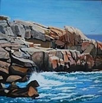 Breakwater Herring Cove NS by Margaret Farrar
