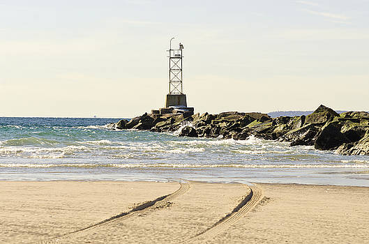 Breezy Point Jetty with tracks by Maureen E Ritter