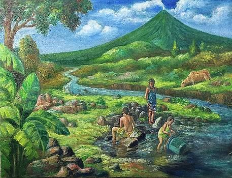 Brethren swimming at Pawa river by Manuel Cadag