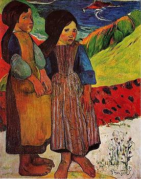 Gauguin - Breton Girls By The Sea