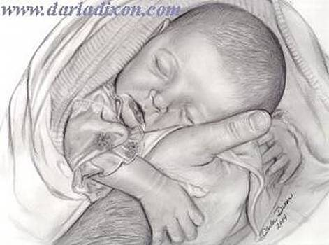 Brianna Safe In Daddy's Hands Father And Newborn Baby Daughter Portrait by Darla Dixon
