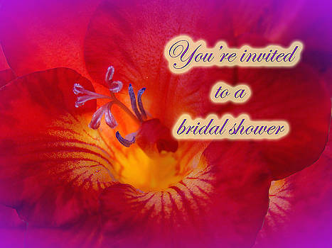 Mother Nature - Bridal Shower Invitation - Red Freesia